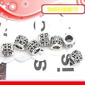 銀鏡DIY S925純銀配件/硫化染黑簍空點點小花造型銀管B~適合串珠手作蠶絲蠟線/衝浪繩(非合金)-特價