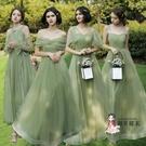 小禮服 伴娘服長款2020新款韓版一字肩伴娘團晚禮服畢業主持宴會服女