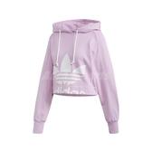 adidas 長袖T恤 Cropped Hoodie 紫 白 女款 帽T 楊冪款 短版 運動休閒 【PUMP306】 FM1745