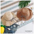 Catworld 千鳥格緞帶可摺疊遮陽草帽【18003288】‧F