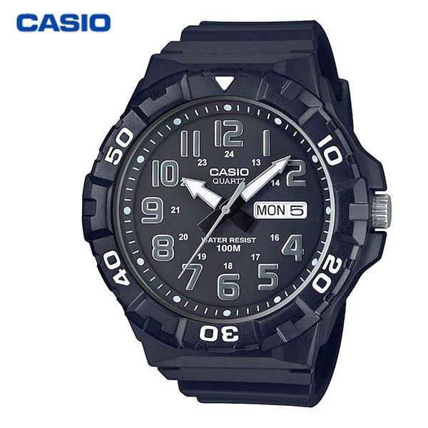 CASIO 大錶面數字星期日期膠帶錶 可轉計時外框 MRW-210H-1A・學生錶/當兵軍用/工作錶・公司貨
