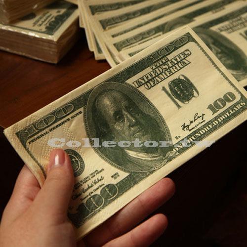 好闊氣-100元美金餐巾紙(10張裝) 美金鈔票紙巾 美元紙巾