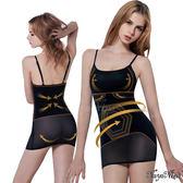 細肩帶連身瘦身衣塑身衣 長版內搭背心 六角力學 強效雕塑 M-XXL 黑《SV6276》快樂生活網