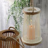 新年85折購 燭台麻繩柳編燈籠純手工復古懷舊家居裝飾防風燈罩蠟燭台蠟座