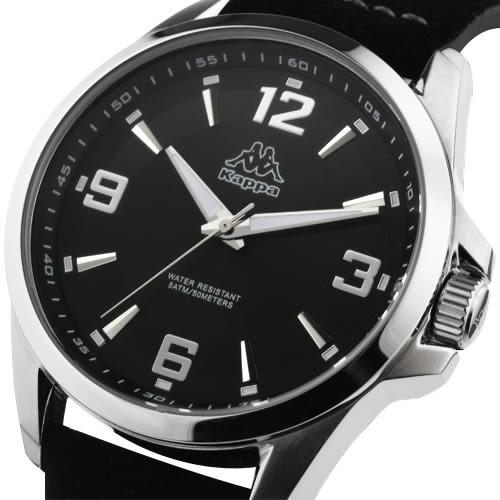 Kappa 逆光時刻經典時尚腕錶-黑/45mm