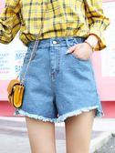 短褲女夏新款韓版寬鬆學生百搭chic白色寬腿顯瘦高腰牛仔熱褲  Cocoa