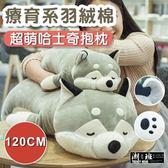 『潮段班』【VR000B14】120CM超萌羽絨棉哈士奇趴趴狗抱枕靠枕毛絨玩具布偶小狗公仔娃娃
