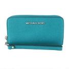 【南紡購物中心】MICHAEL KORS JET SET厚版銀字防刮素面手機夾-藍綠