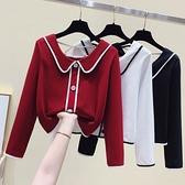 VK精品服飾 韓國風娃娃領針織衫背部細帶單品長袖上衣