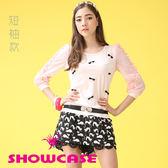 【SHOWCASE】透膚紗袖拼接蝴蝶結飾設計T恤(粉)