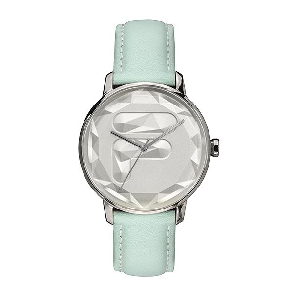 【FILA 斐樂】幾何切面LOGO設計腕錶-蘋果綠/38-184-003/台灣總代理公司貨享兩年保固