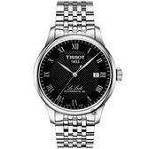 TISSOT 天梭 Le Locle 80小時動力儲存機械錶-黑/39mm T0064071105300