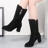 中筒靴女2019秋季新款粗跟中幫女靴高筒不過膝中跟百搭短靴女 XN7848【優品良鋪】
