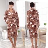 男士浴袍冬季法蘭絨睡袍男加厚長款珊瑚絨浴衣秋季情侶家居服睡衣 千千女鞋