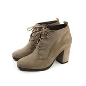 HUMAN PEACE 皮革 高跟 粗跟 靴子 卡其色 女鞋 7516-11 no042