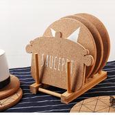 加厚軟木隔熱墊套裝 北歐動物字母創意桌墊盤墊碗墊餐墊防燙鍋墊   初見居家