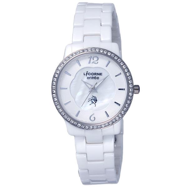 LICORNE entree 唯美花紋閃爍晶鑽腕錶-白