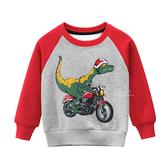摩托車恐龍加絨長袖上衣 童裝 加絨上衣 長袖上衣
