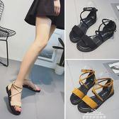 韓版低跟涼鞋女夏新款交叉綁帶羅馬鞋一字扣學生平底百搭涼鞋『夢娜麗莎精品館』