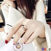 Bay 食指鈦鋼戒指女不掉色日韓玫瑰金人個性大氣時尚指環女