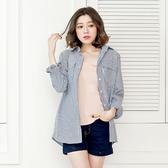 長版襯衫--復古風慵懶OverSize雙口袋直線條立領襯衫/外套(黑XL-5L)-I84眼圈熊中大尺碼◎