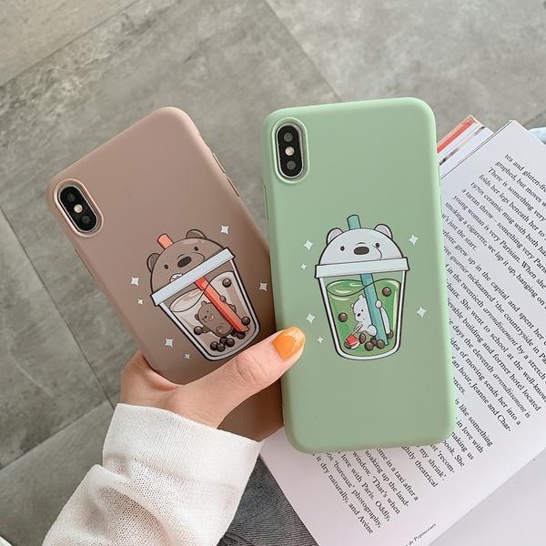 (附掛繩)蘋果 iPhone7 i8 i11 Promax SE 2020 XR XSmax可愛卡通 全包邊軟殼 簡約 輕薄 手機殼 珍珠奶茶小熊