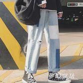 中大尺碼韓版破洞牛仔褲寬鬆潮流秋季乞丐九分褲子潮sd3121『夢幻家居』