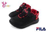 FILA 運動鞋 男童 中小童 透氣 輕量 慢跑鞋 O7632#黑紅◆OSOME奧森童鞋