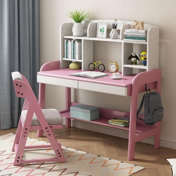 北歐全實木書桌書架一體組合家用中小學生學習桌可升降兒童寫字台 ATF 夏季狂歡