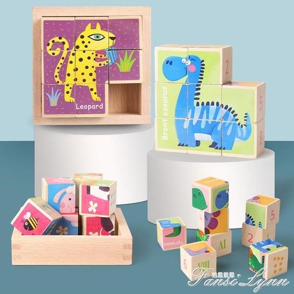 數字華容道六面畫拼圖2-6歲3兒童寶寶早教拼裝益智積木玩具大顆粒 范思蓮恩