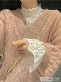 蕾絲打底衫 蕾絲打底衫女高領秋冬毛衣內搭洋氣網紗喇叭袖上衣加絨長袖蕾絲衫 寶貝計畫