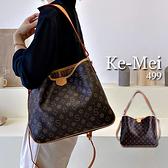 克妹Ke-Mei【ZT69922】採購代購!復古字母圖騰大容量皮質三用側背包
