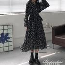 法式復古V領長袖碎花裙收腰女裝裙子秋冬顯瘦長款氣質溫柔洋裝 黛尼時尚精品