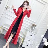 秋季外套2018新款女韓版氣質長袖翻領單排扣鹿皮絨修身中長款風衣