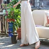 垂感亞麻闊腿褲女夏季新款女褲寬鬆直筒褲棉麻休閒顯瘦寬腿女 快速出貨