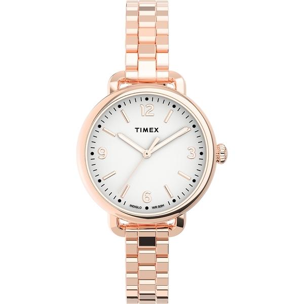 【TIMEX】天美時 風格系列 典雅知性女錶 ( 白面 / 玫瑰金 TXTW2U60700)