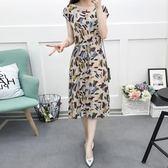 極簡主義連身裙棉綢夏2019新款大碼女裝胖淼淼收腰短袖 貝芙莉