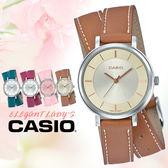 CASIO手錶專賣店   CASIO_LTP-E143DBL-5A 真皮錶帶 礦物玻璃 50米防水