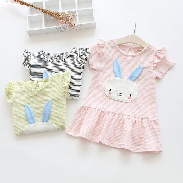 夏季女童可愛白兔條紋棉質短袖洋裝.連身裙.蛋糕裙~EMMA商城