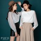 PUFII-上衣 拼接透膚袖圓領素面上衣...