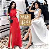 克妹Ke-Mei【ZT46814】歐洲站 名媛小香風立排釦腰帶雪紡長洋裝