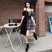 VK精品服飾 韓系一字領細肩帶格紋拼接不規則短袖洋裝