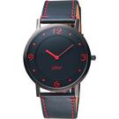 STAR 時代 超薄時光手錶-黑x紅時標/38mm 9T1407-431D-R