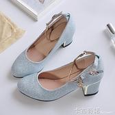 新款秋季淺口單鞋女粗跟亮片圓頭百搭大碼亮晶晶中跟高跟女鞋