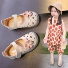 女童涼鞋 女童單鞋涼鞋春兒童正韓軟底學步鞋時尚洞洞皮鞋防滑小寶寶公主鞋-Ballet朵朵