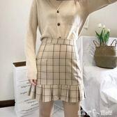 秋季新款格子半身裙女高腰顯瘦包臀A字裙學生百褶裙修身簡約裙子 潔思米