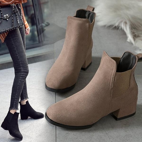 【現貨】韓風切爾西粗跟短靴 (35-43全尺碼) 白鳥麗子