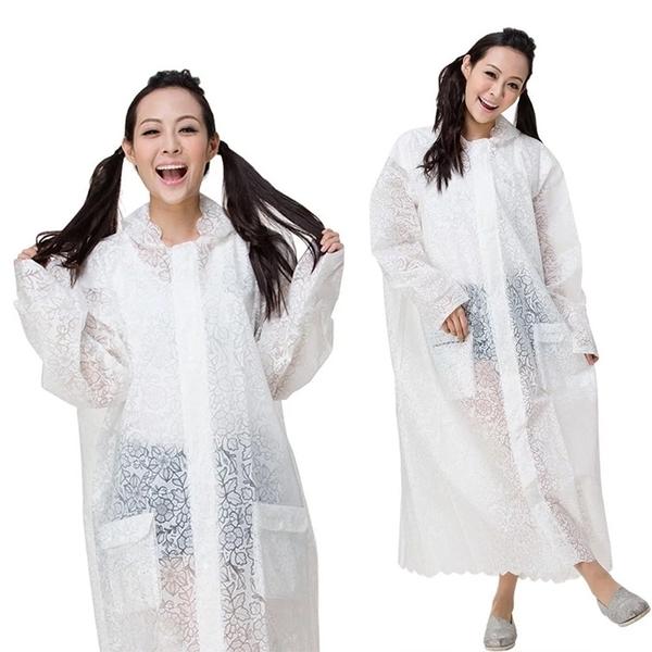 時尚連身口袋雨衣 附提袋/3色 EVA雨衣少女設計 造型雨衣 防水雨衣 大衣式雨衣 風衣式雨衣 UPON雨衣