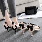 2020夏季新款涼鞋女細跟高跟貓跟女涼鞋露趾甜美一字扣蝴蝶結涼鞋