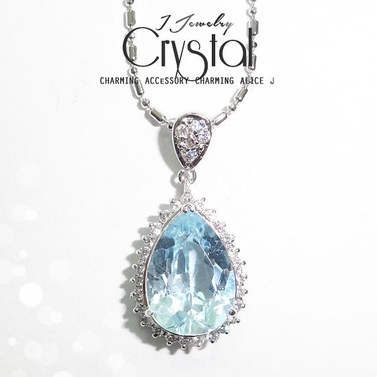 水之戀 太陽拓帕石碎鑽水晶項鍊